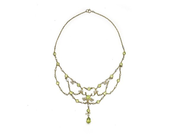Antique Edwardian Peridot & Pearl Swag Necklace