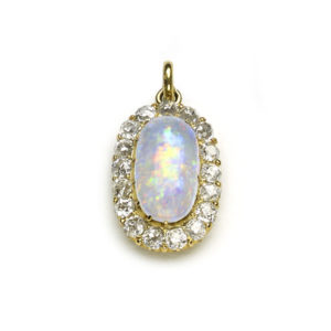 Antique Art Deco Opal & Diamond Cluster Pendant
