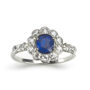 Antique Art Deco Sapphire & Diamond Cluster Ring