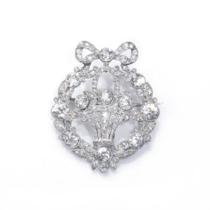 Antique Art Deco Jardinière Diamond Brooch