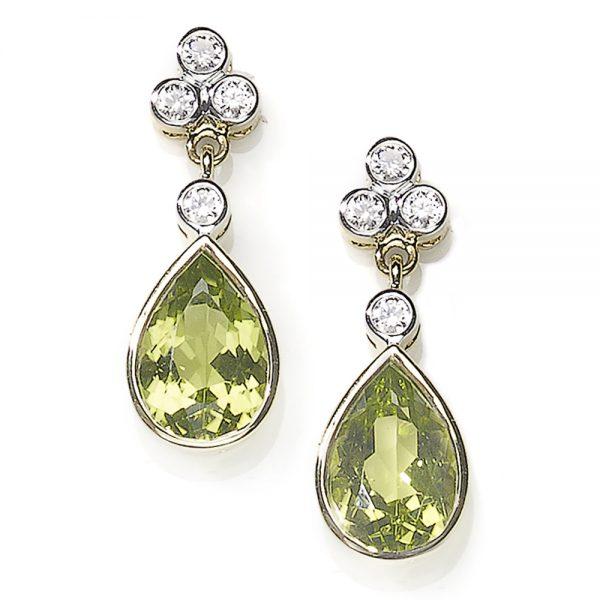 Diamond Topped Peridot Drop Earrings