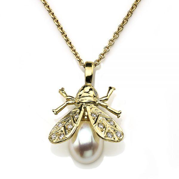 Pearl & Diamond Bee Pendant