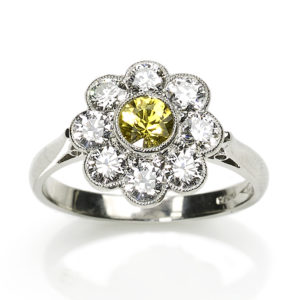 Edwardian Style Yellow Sapphire & Diamond Cluster Ring
