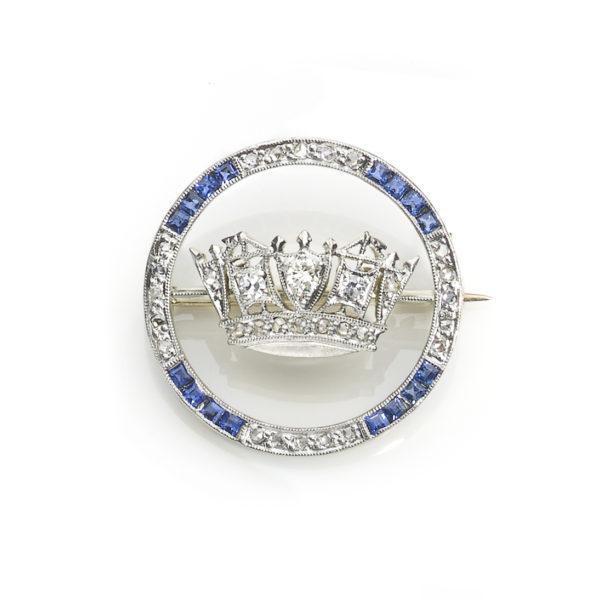 Antique Edwardian Sapphire & Diamond Brooch