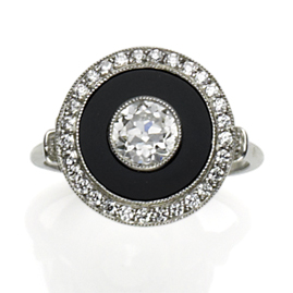 Art Deco style diamond and onyx target ring, platinum