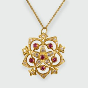 Vintage Ruby & Diamond Flower Detail Pendant