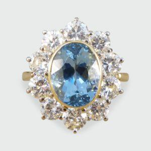 Vintage Aquamarine & Diamond Cluster Ring