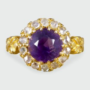 Antique Victorian Amethyst & Diamond Cluster Ring