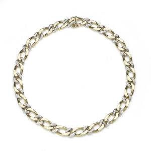 Diamond Set Gold Curb Link Necklace