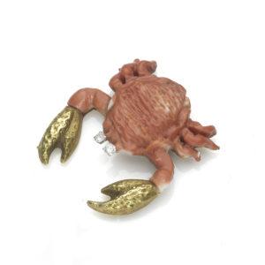 Vintage Coral Crab Gold Brooch