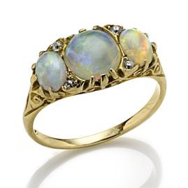Antique Opal and Diamond Three Stone Ring