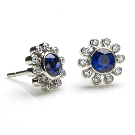 Sapphire & Diamond Petal Earrings