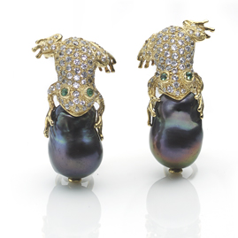 Black Freshwater Pearl 'Frog Prince' Earrings