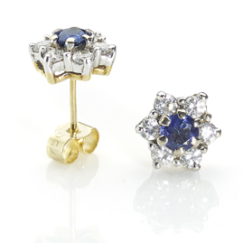 Sapphire & Diamond Star Earrings
