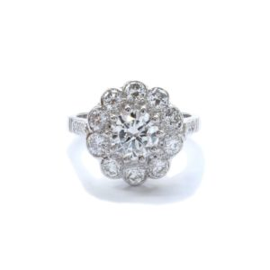 Antique 18ct White Gold Diamond Cluster Ring