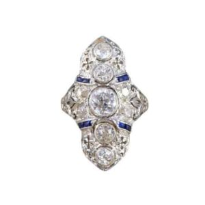 Antique Art Deco Plaque Style Diamond Sapphire Ring