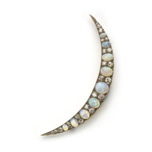 Antique Victorian Opal & Diamond Crescent Brooch