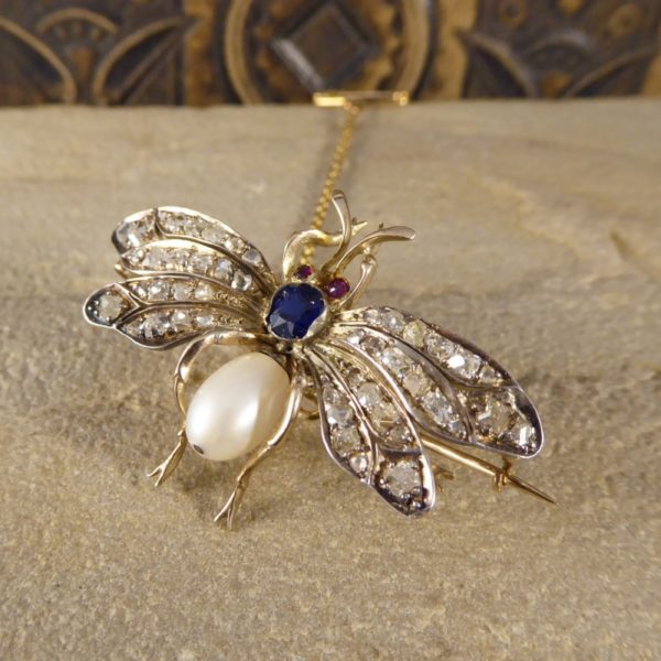 Antique Victorian Sapphire, Ruby & Diamond Set Bug Brooch