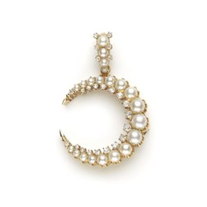Antique Victorian Pearl & Diamond Crescent Pendant Brooch