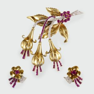 Vintage Ruby & Diamond Floral Earring & Pin Set