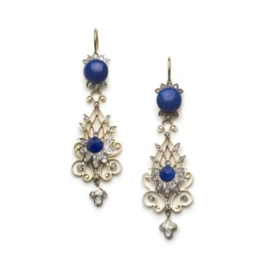 Antique Victorian Lapis Lazuli & Diamond Filigree Drop Earrings