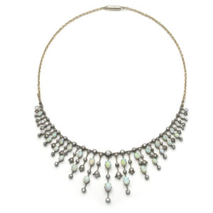 Antique Victorian Opal & Diamond Fringe Necklace