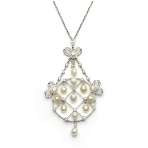 Antique Belle Epoque Diamond & Natural Pearl Pendant