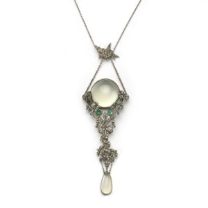 Antique Art Nouveau Moonstone, Emerald & Marcasite Pendant