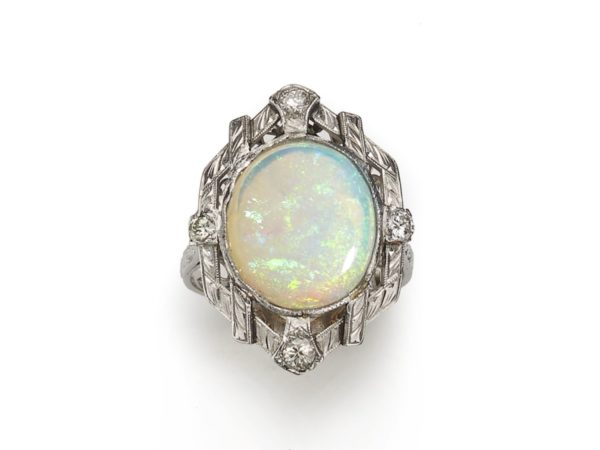 Vintage Opal & Diamond Ring