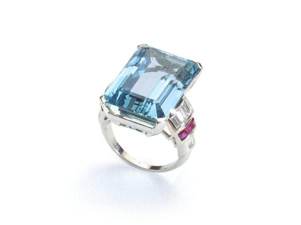 Vintage Aquamarine, Diamond & Ruby Ring