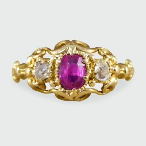 Antique Victorian Ruby & Diamond Ring