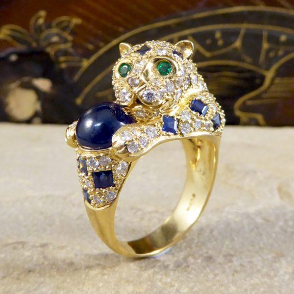 Sapphire Diamond & Emerald Set Feline Ring