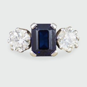 Antique Art Deco Sapphire & Diamond Three Stone Ring