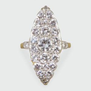 Antique Edwardian Diamond Marquise Shaped Ring