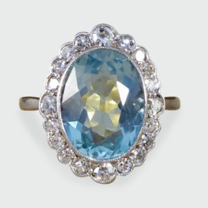 Antique Edwardian Aquamarine & Diamond Cluster Ring