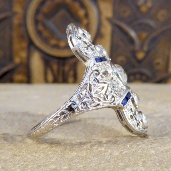 Antique Art Deco Plaque Style Diamond & Sapphire Ring