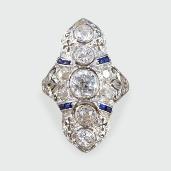 Antique Art Deco Plaque Style Diamond & Sapphire Ring