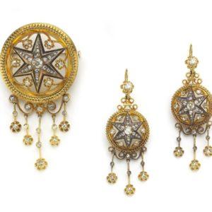 Antique Victorian Diamond Gold Enamel Brooch & Earrings Suite