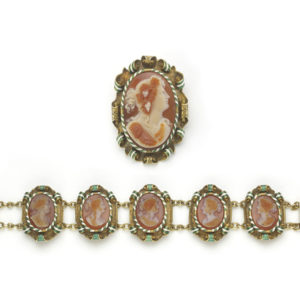 Antique Victorian Cameo Carnelian Gold Enamel Suite