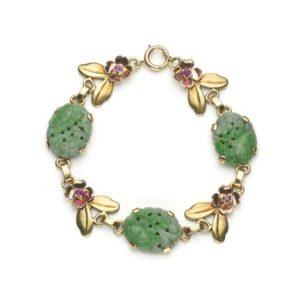 Vintage Tiffany & Co. Jade Ruby and Gold Bracelet