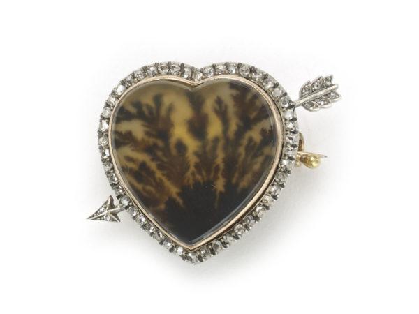 Antique Victorian Fabergé Moss Agate Brooch