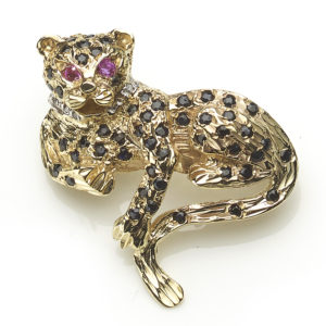 Gem Set Gold Leopard Brooch