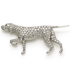 Antique Edwardian Diamond Set Dog Brooch