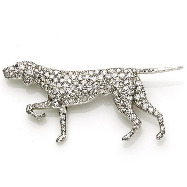 Antique Edwardian Diamond Set Dog Brooch