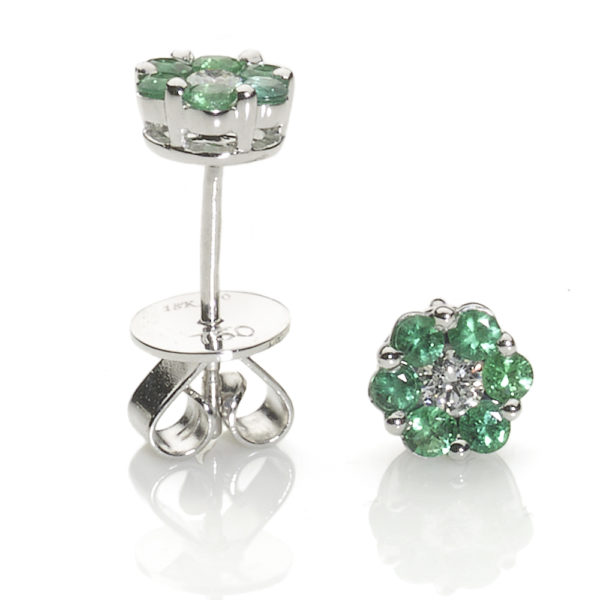 Emerald & Diamond Flowerhead Earrings