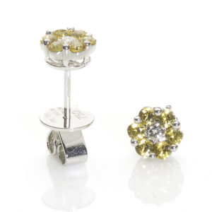 Yellow Sapphire & Diamond Flowerhead Earrings