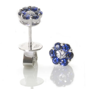 Sapphire & Diamond Flowerhead Earrings
