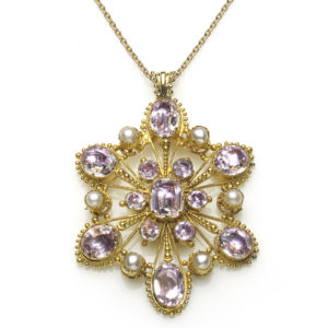 Antique Georgian Pink Topaz & Pearl Pendant