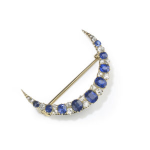 Antique Victorian Sapphire & Diamond Crescent Brooch