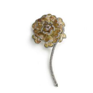 Enamel & Diamond Chrysanthemum Brooch